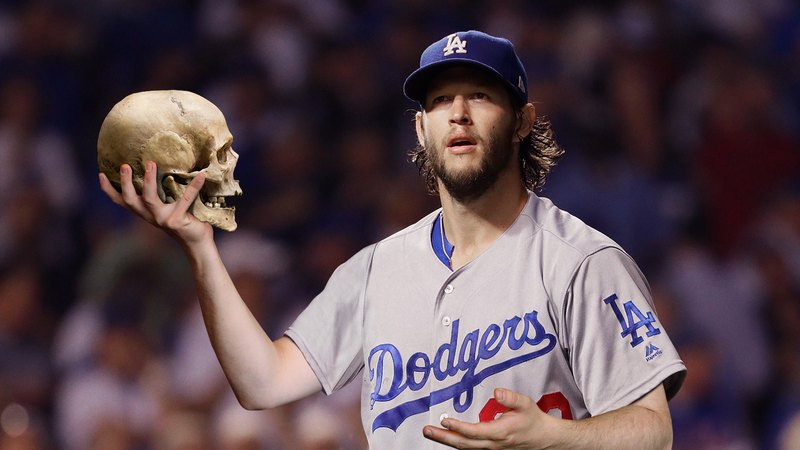 Dodgers pitcher Clayton Kershaw delivering a monologue during a game.